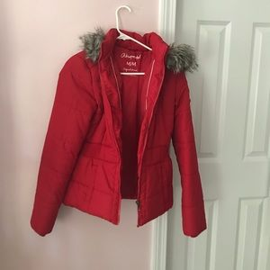 Red puffy winter coat